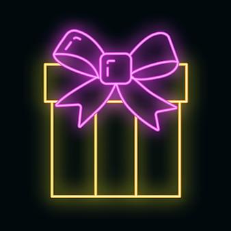 Концепция рождественской подарочной коробки значок желтый неоновый стиль свечения, с новым годом и рождеством плоские векторные иллюстрации, изолированные на черном. рождественский праздник зимнего времени.