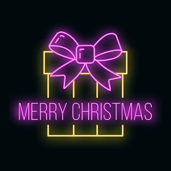 Concept christmas gift box icon yellow neon glow style, happy new year and merry christmas flat vector illustration, isolated on black. xmas holiday winter time.