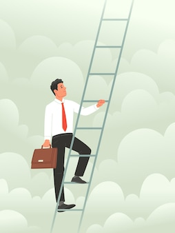 Concept of climbing the career ladder metaphop of conquering heights in business