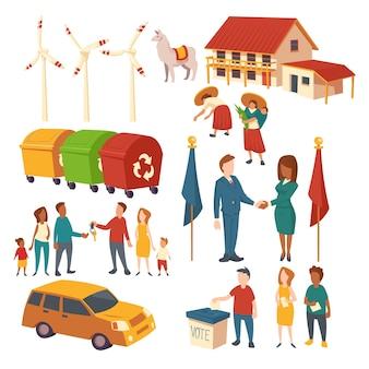 政治家の選挙、合意、車の購入、ごみのリサイクル、エコエネルギー、プランテーションのコンセプトクリップアート。演技の人々、家、ラマ、風車、ゴミ箱の漫画セット