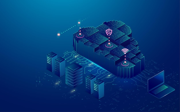 Concept of cloud storage or data center, graphic of cloud computing with futuristic technology element Premium Vector