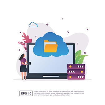 Concept of cloud storage which can store a lot of data