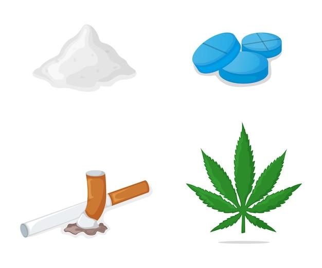 Concept cocaine, heroin powder, marijuana cannabis leaf, cigarette addictive stuff drug vector illustration, isolated on white.