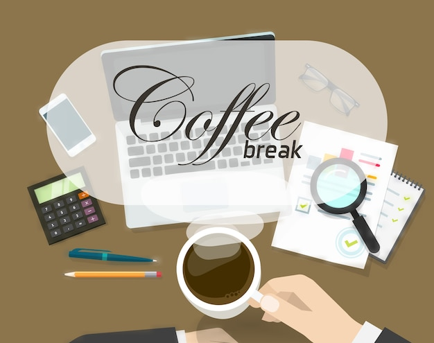 Concept of coffee time on office workspace
