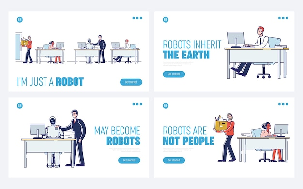 Concept of collaboration of human and robot. website landing page.