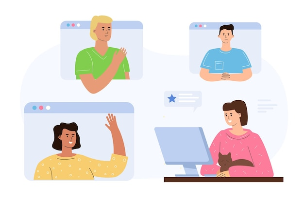 The concept of a collective online briefing, a video call for employee communication.