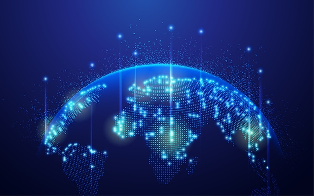 Concept of communication technology or global network, dotted world map with futuristic element