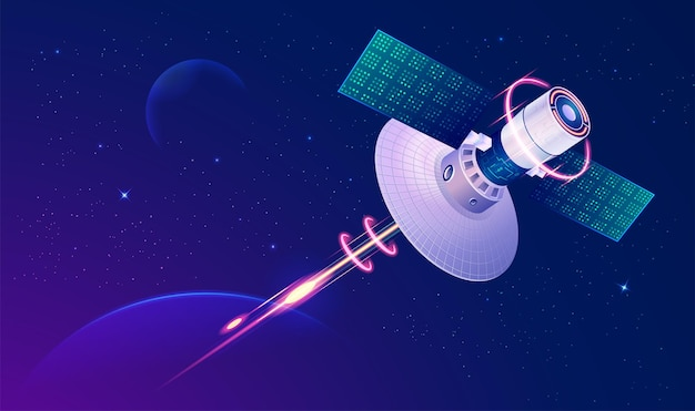Concept of communication technology, graphic of telecommunication satellite with outer space background