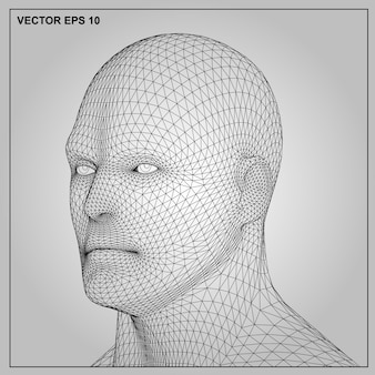 Concept or conceptual 3d wireframe human male