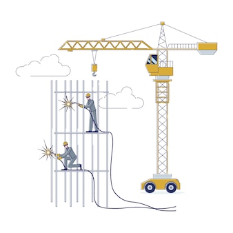 Concept of construction workers working together