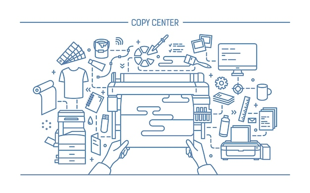 Concept of copy center, print shop, publishing. illustration with printer, monitor, scanner, different equipment. black and white vector illustration in lineart style