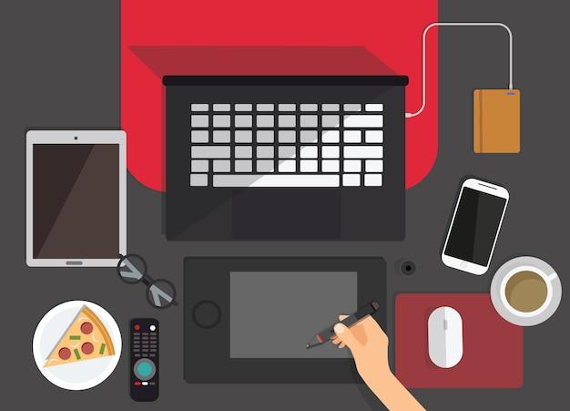 Концепция коронавируса covid-19. компания позволяет сотрудникам работать из дома, чтобы избежать вирусов. вид сверху рабочего места графического дизайнера на заднем плане. плоский дизайн рабочей области с ноутбуком, кофе, пиццей