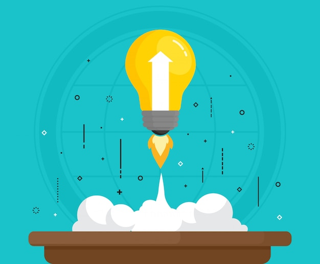 Concept for creativity idea, imagination, start up. vector illustration. flat design.