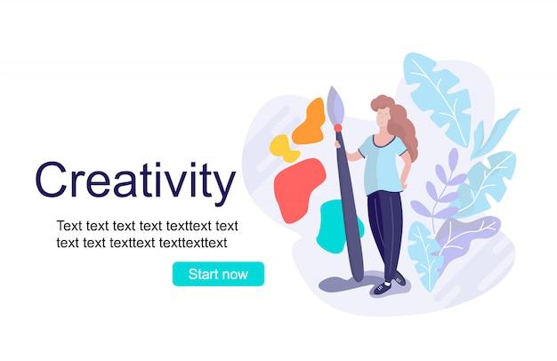 Concept  creativity landing page