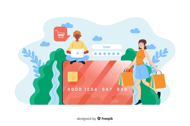 Concept credit card payment for landing page