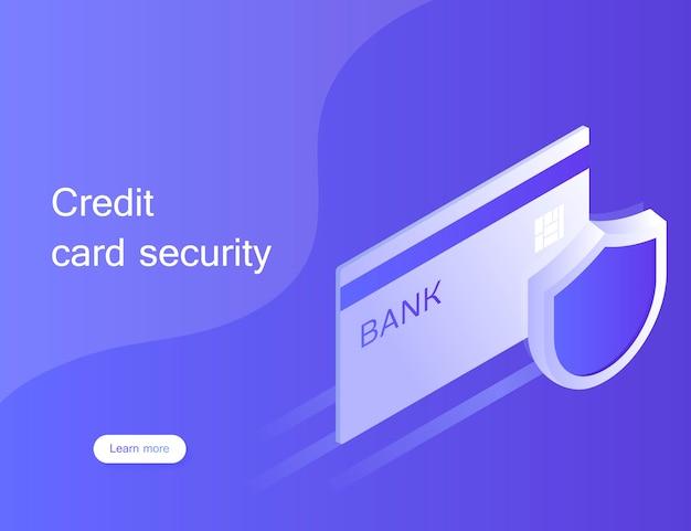 コンセプトクレジットカードのセキュリティ。スマートフォンを使用したオンライン支払い保護システム。インターネットを介したパスワード確認による安全な銀行取引。アイソメ図スタイルのモダンなイラスト
