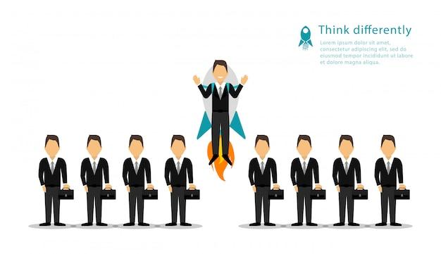 コンセプト群衆ビジネスマン。別に考えます。あなたのビジネスを開始します。プロジェクトを開始します。