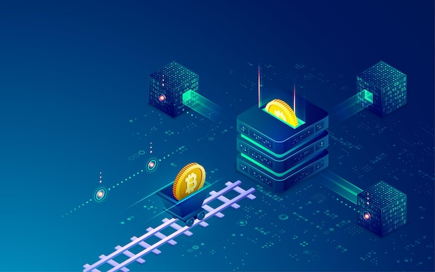 Concept of cryptocurrency mining technology, graphic of blockchain with bitcoin and mining tool