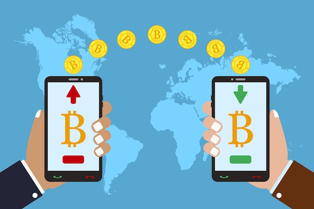Concept of cryptocurrency technology bitcoin exchange and transfer hand holds mobile phone
