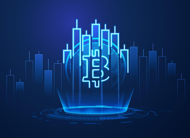 Concept of cryptocurrency technology, graphic of bitcoin symbol combined with stock candlestick in financial business theme
