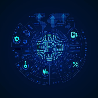 Concept of cryptocurrency technology, graphic of bitcoin symbol with financial technology element