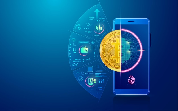 Concept of cryptocurrency technology, graphic of mobile phone with bitcoin wallet application
