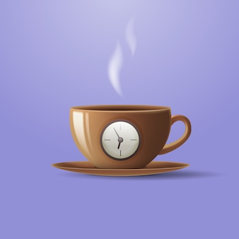 Concept of a cup of coffee in the form of an alarm clock.