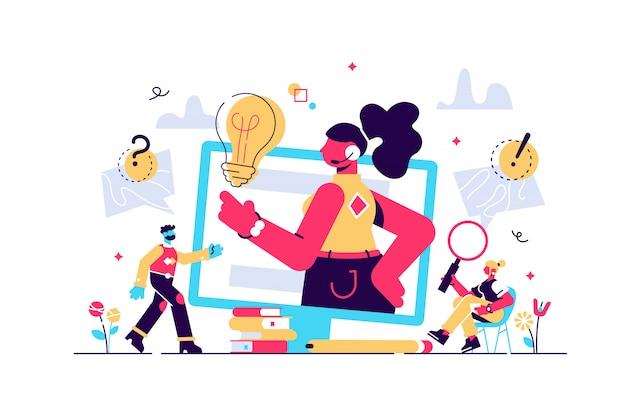 개념 고객 서비스, 핫라인 운영자는 웹 페이지, 배너, 프리젠 테이션, 소셜 미디어에 대한 고객을 조언합니다. 온라인 글로벌 기술 지원. 그림 조언, 도움, 지원의 아이디어입니다.
