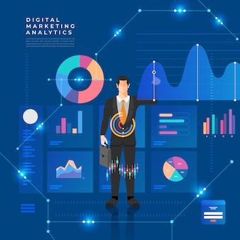 개념 데이터 분석. 그래프 및 차트 마케팅 성장으로 시각화합니다. 삽화.