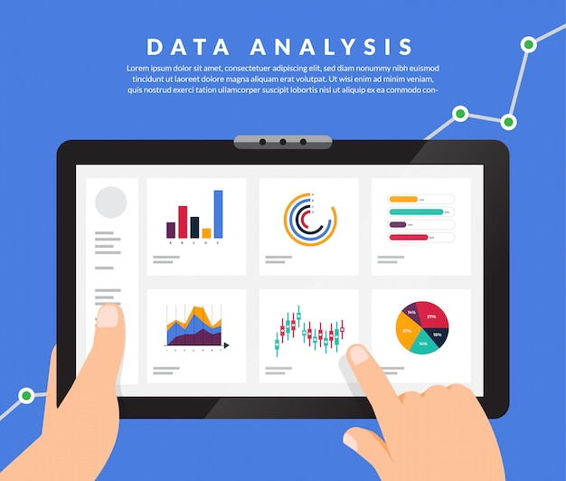 Concept data analysis. visualize with graph and chart marketing growth.  illustration.