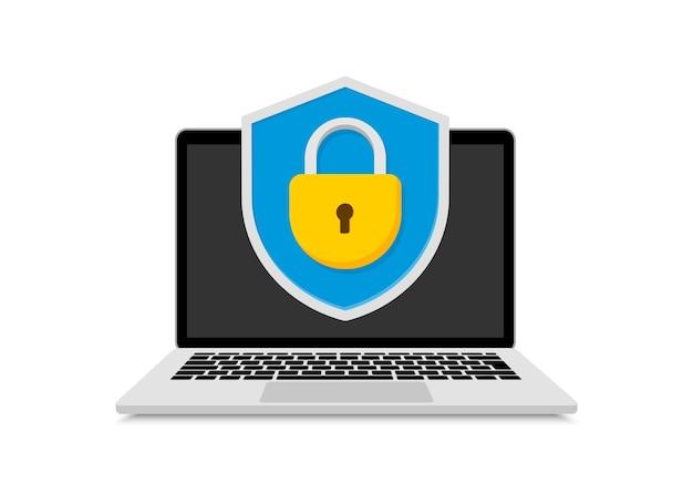 コンピュータのロックを備えたラップトップシールドのコンセプトデータ保護