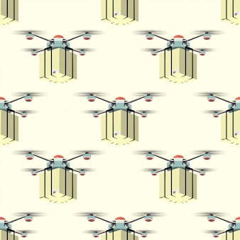 Concept for delivery service. pattern of delivery drone with package. vector illustration.