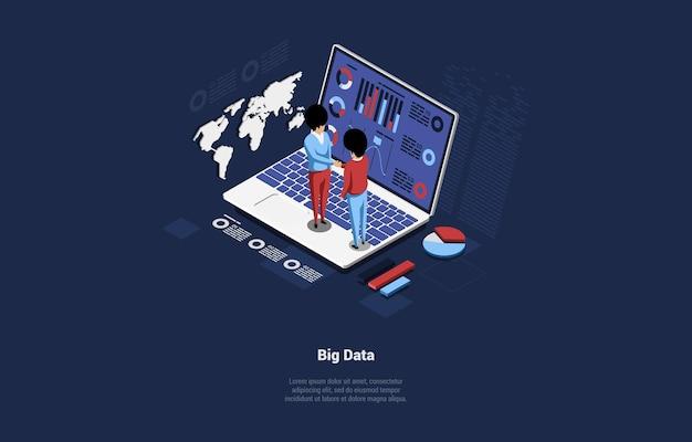 ビッグデータのアイデアのコンセプトデザイン。画面上の図でラップトップに立っている2人のキャラクター