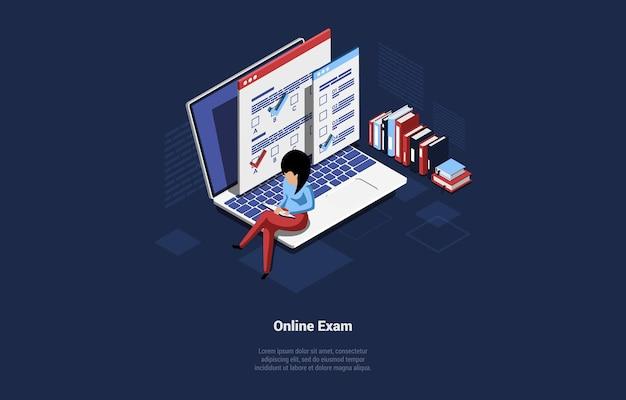 온라인 시험 아이디어의 컨셉 디자인. 노트북에 앉아 여성 캐릭터입니다.
