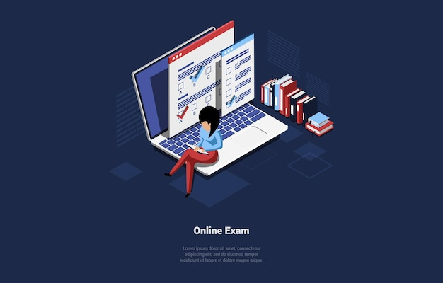 Concept design of online exam idea. female character sitting on laptop.