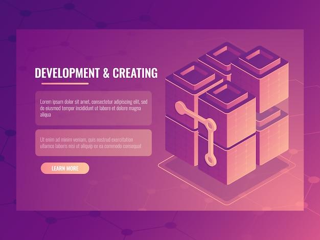 Il concetto di sviluppo e creazione, blocco costruttore, sala server tecnologia digitale