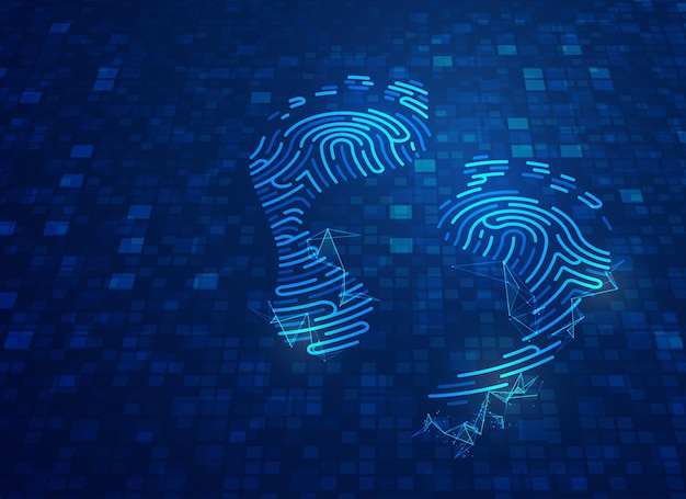 Concept of digital footprint, graphic of footprint shape combined with futuristic pattern and digital technology element