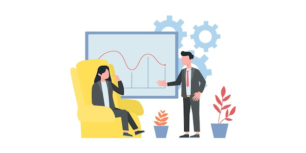 Concept of digital technology, work with business graphics, career growth to success. young man sits with laptop and rewrites in chat. vector flat illustration