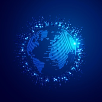 Concept of digital transformation or global network technology,  binary globe with futuristic element