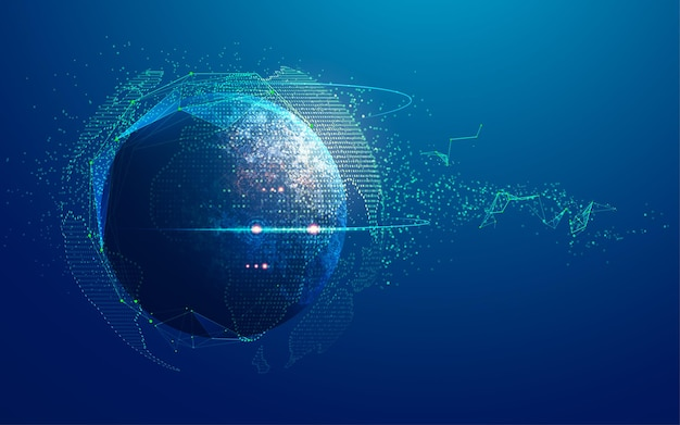 Concept of digital transformation or global network technology, graphic of globe with futuristic element