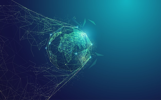 Concept of digital transformation or global network technology, polygonal globe with goal moment