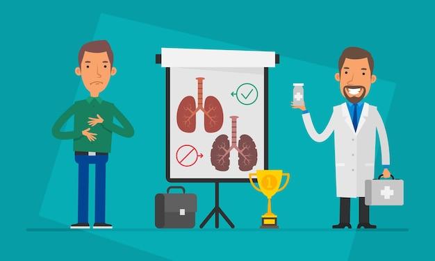 Концепция доктор пациент и флип-чарт. векторные иллюстрации. люди характер.