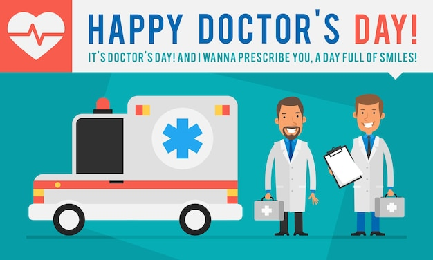 コンセプトドクターズデイ救急車とスーツケースを持っている2人の医師。ベクトルイラスト。人々のキャラクター。