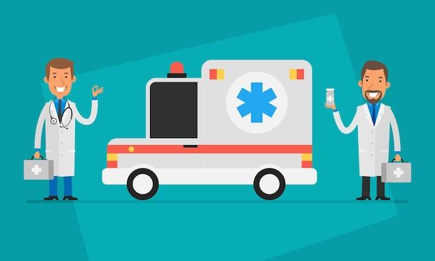 コンセプトドクター2日目ドクターと救急車。ベクトルイラスト。人々のキャラクター。