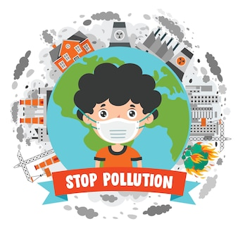 Concept drawing of air pollution
