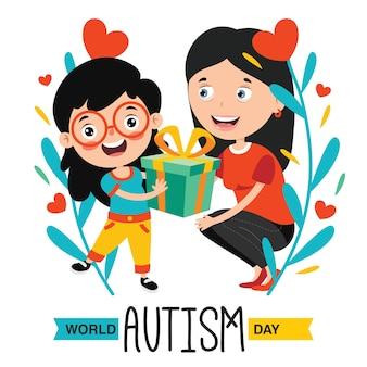 Concept drawing of autism awareness