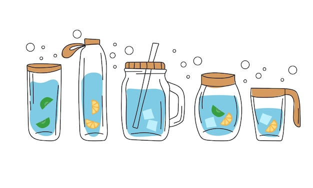 Concept - drink more water, drinking water with ice, orange, kiwi in glass bottle. vector set of various bottles, glass.