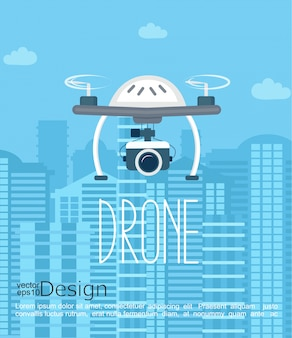 Concept of the drone with the camera. Premium Vector