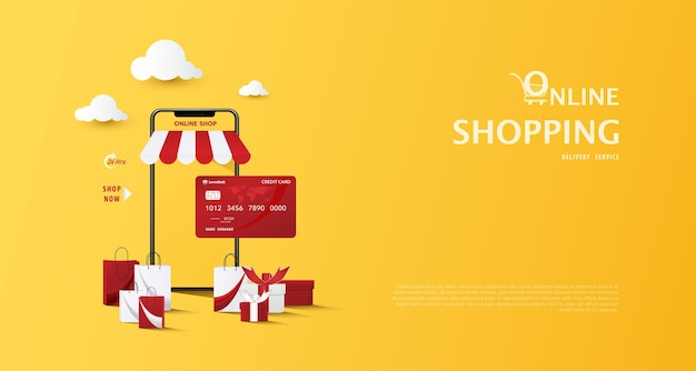 Concept of e commerce online shopping on web stores through mobile phone and marketplace with credit card shopping bags on yellow background vector illustration