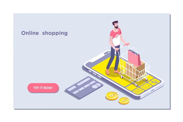 Concept of e-commerce sales, online shopping
